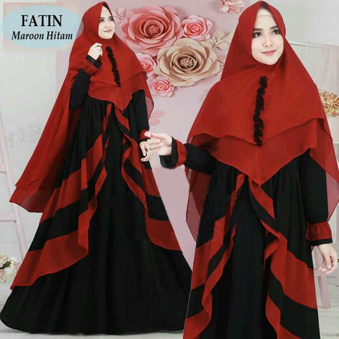 Jual C25 Baju Gamis Syari Sidqia Warna Merah Maron Kombinasi Hitam