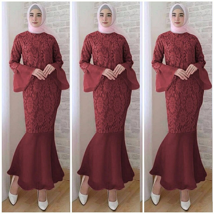 Jual Cl Mermaid Baju Muslim Wanita Gamis Maxi Kebaya Dress Biru Muda Dki Jakarta Savera Tokopedia