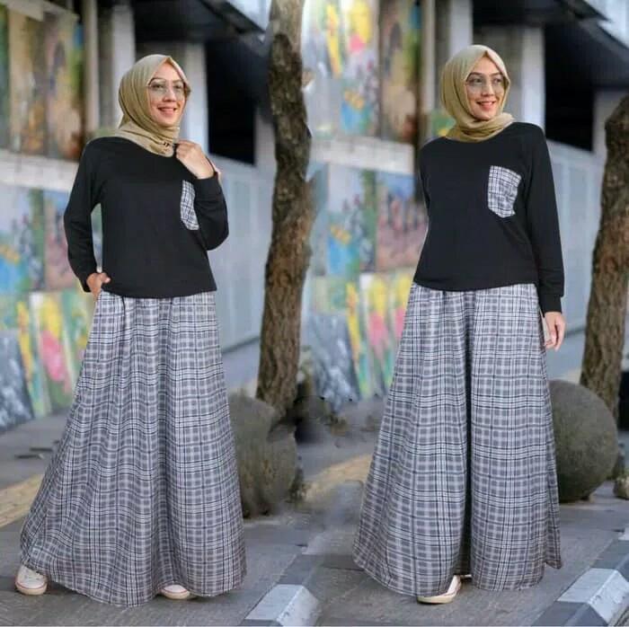 Baju Setelan Remaja Perempuan/Pakaian Muslim Set Rok Beriberi Black