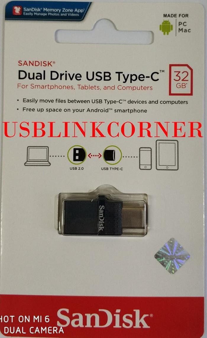 Jual Sandisk Flashdisk Usb 20 Otg Type C 32gb Dual Drive Limited