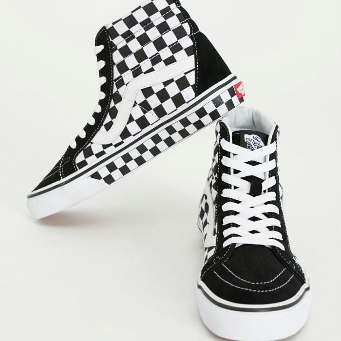 Jual Vans SK8 Hi Checkerboard Black White e2302fb64a