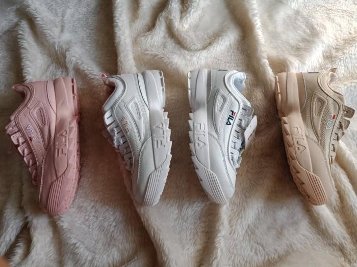 Sepatu sneakers casual running fila disruptor II 2 premium cewek women - Putih  Pink 1cde88ab1b