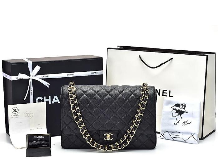 faa8811a07be Jual Tas Chanel Maxi Caviar Hitam Gold Hw Ghw P Ori Hitam Plush