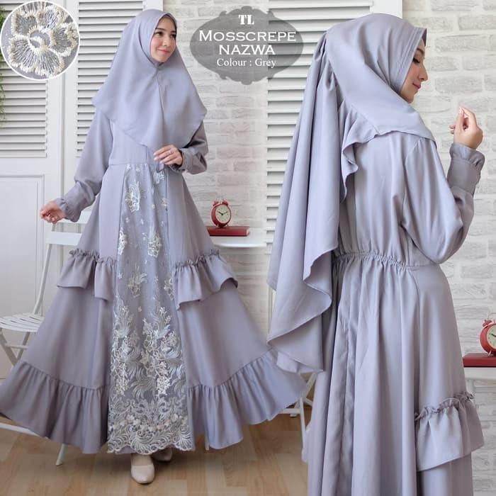Jual St Dress Muslim Brokat Timbul Monscrepe Premium Grey Kota Bogor Munawaroh Fashion Tokopedia
