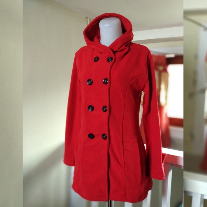 Jual Blazer   Jaket Korea Wanita Minako Hoodie Red - Baju Bandung ... 6cec6d1cd1