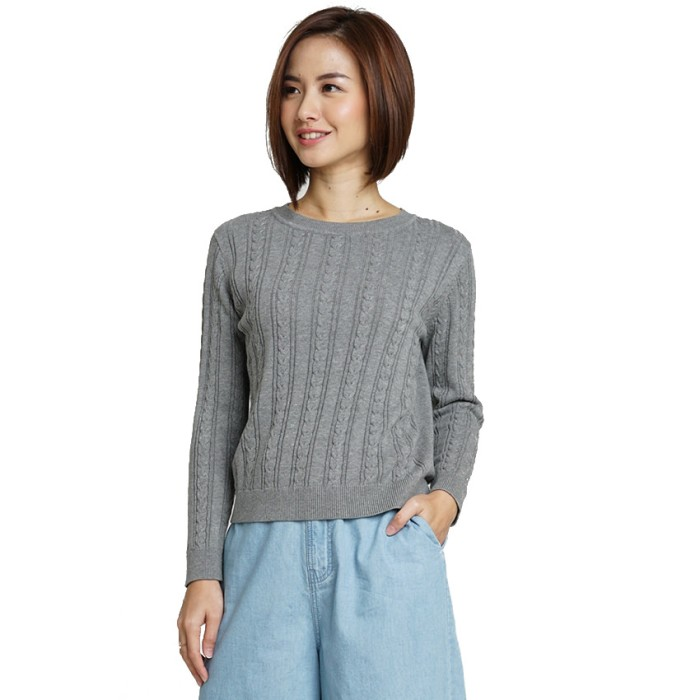 Minimal cable knit fancy sweater misty grey - abu-abu muda s