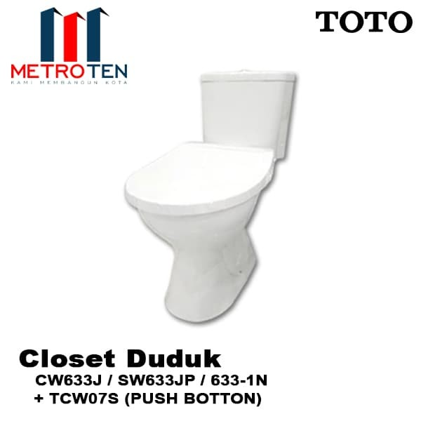 Jual Closet Duduk Toto CW 633J / SW633JP + TCW07 Push Button ...