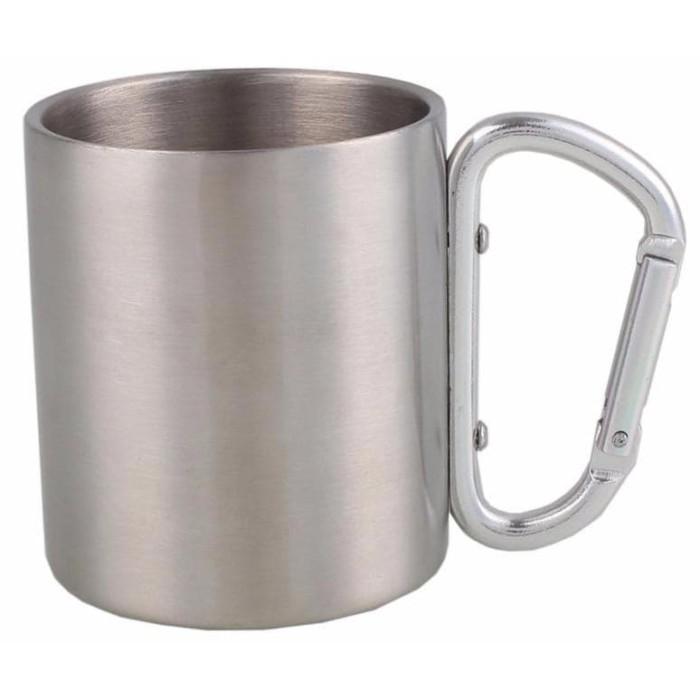 Foto Produk Cangkir camping / gelas camping + carabiner lipat Stainles Steel tebal dari Wali Limbung Store