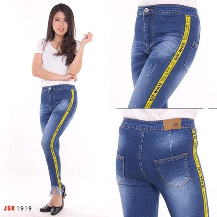 PROMO Celana Jeans Highwaist List Pita Kaki Rumbai 2 Warna