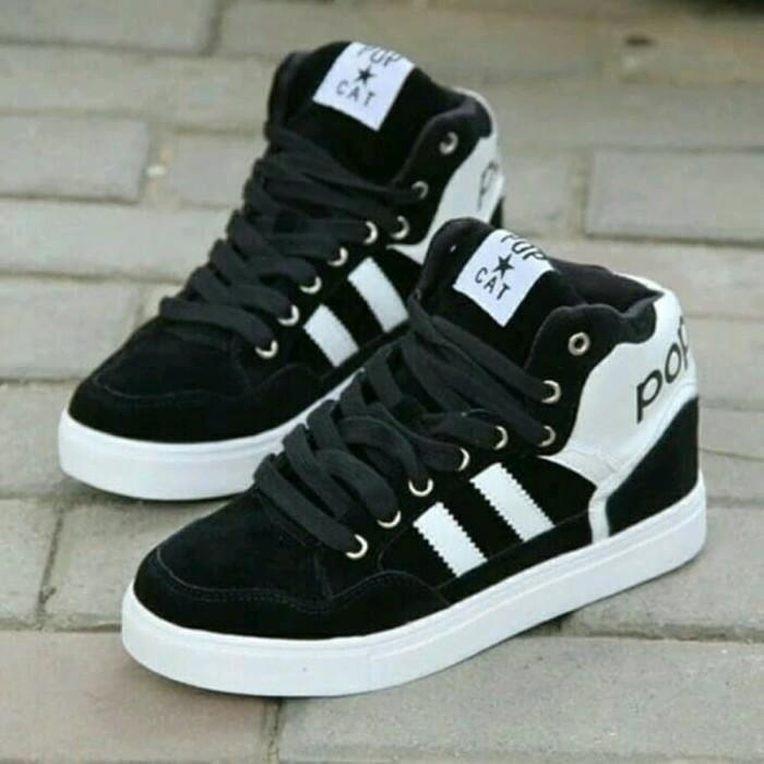 sepatu sneakers boot pop cat hitam Diskon