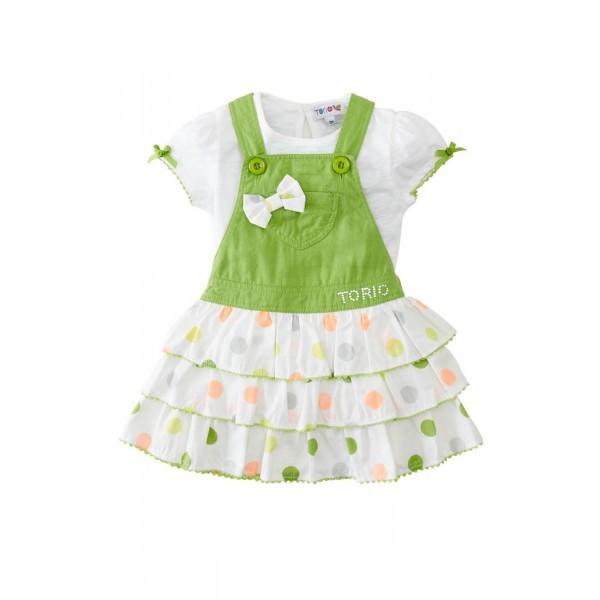 Torio verdant dungaree ruffle dress set