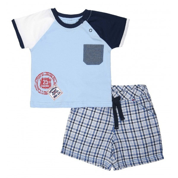 Torio tiny blue boxes baby jersey set