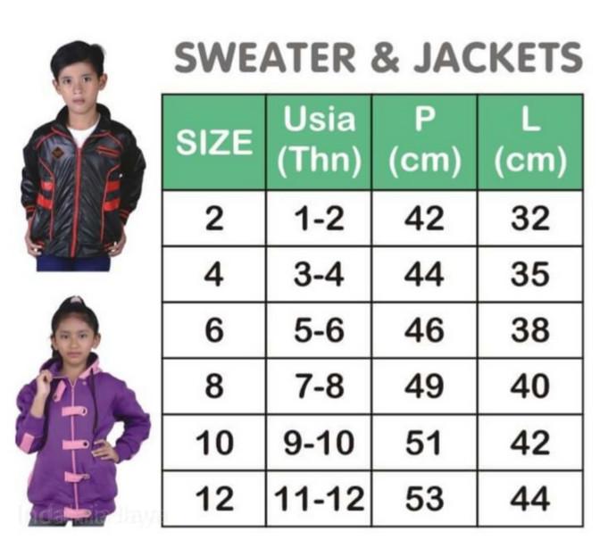 Jual Size Chart Fashion Anak Jaket Sweater Anak Dan Balita Kota Depok Indahria Jaya Tokopedia