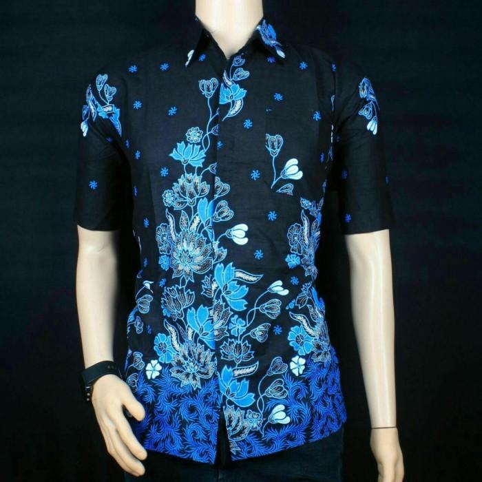 harga Batik - kemeja batik pria rensi biru - baju batik modern Tokopedia.com
