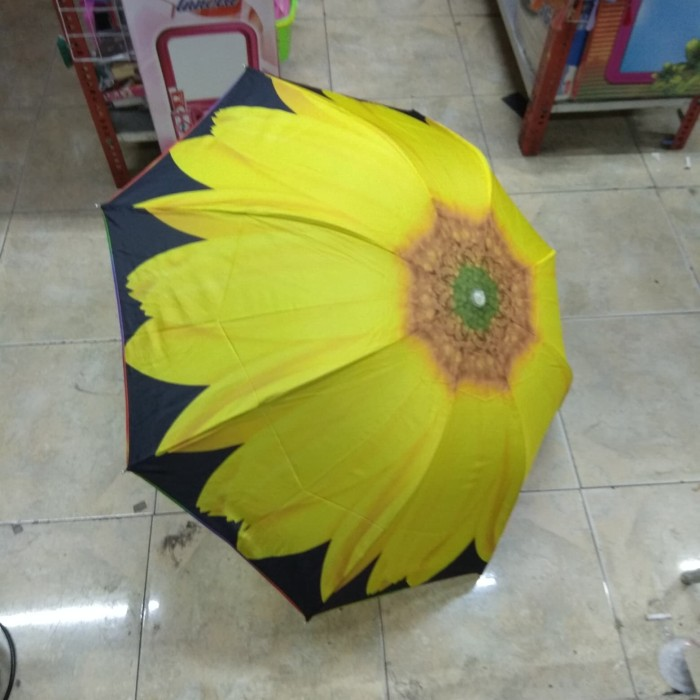 Payung lipat 3 cap layar sarung sleting
