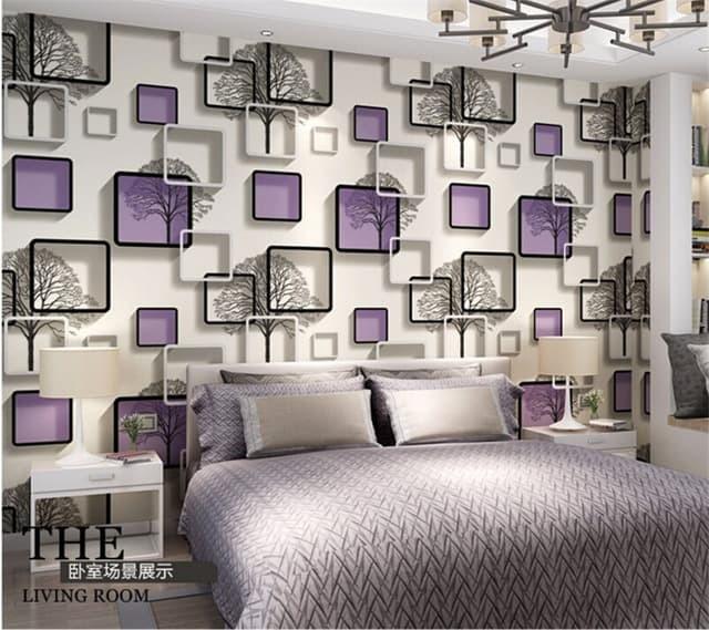 walpaper dinding minimalis motif kotak ungu size 45x10