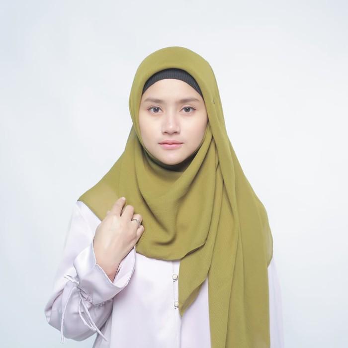 eclemix jilbab cornskin green 1 scarf square segi empat - hijau