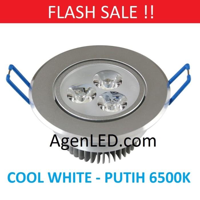 Foto Produk Lampu Downlight LED Spot sorot 3W PUTIH 3 w watt mata 3watt COOL WHITE dari AgenLED