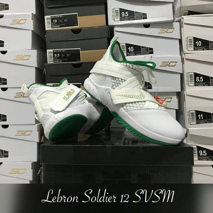 6a5a95eabab Jual Sepatu Basket Lebron Soldier 12 SVSM 2 White Green Putih Hijau ...