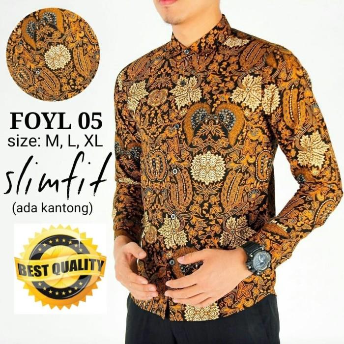harga Kemeja Batik Pria Slim Fit Modern Foyl 05 Blanja.com
