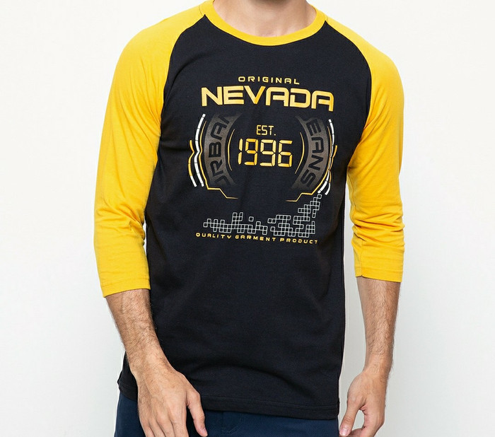 harga Kaos panjang 3 per 4 pria nevada hitam kuning 1996 nr420 Tokopedia.com