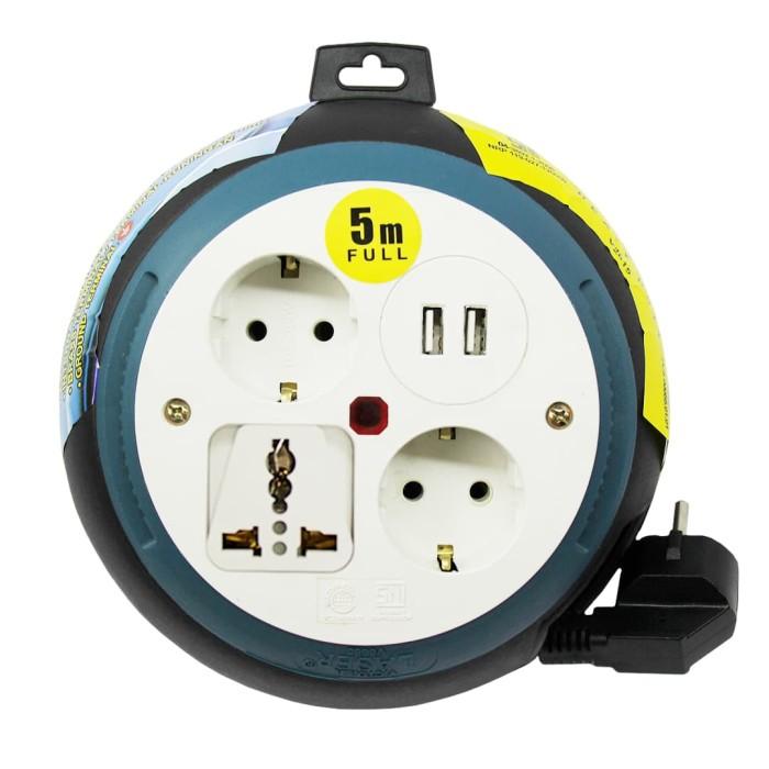vetto box kabel laser v8685 5m lampu universal sni & 2x 2.1a usb3.0 - merah