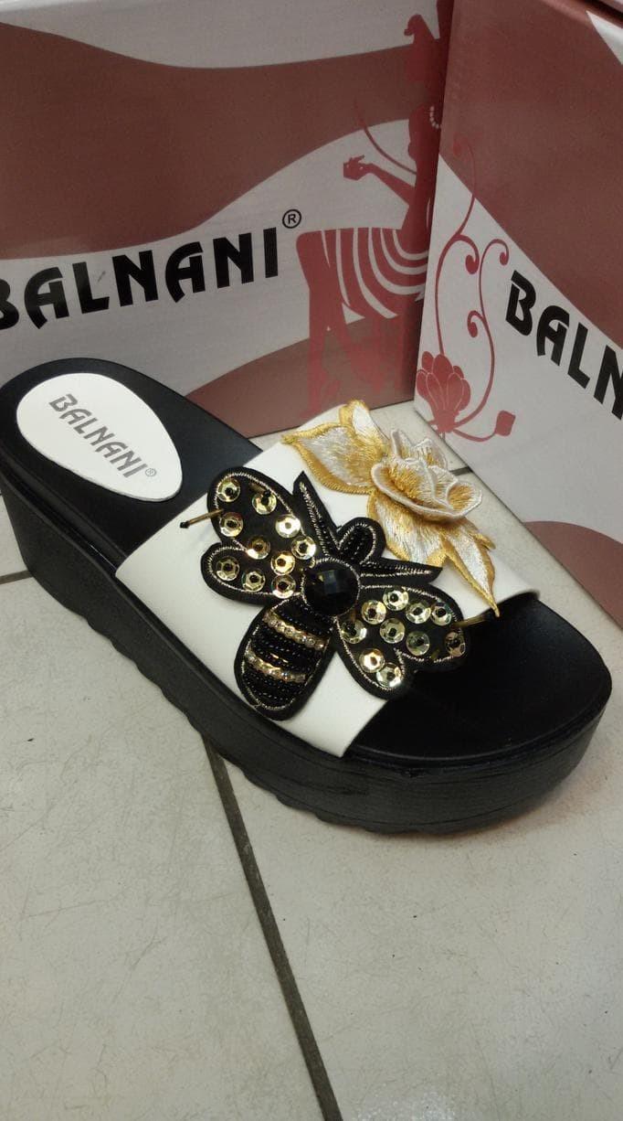 Balnani sandal import wanita cewek sepatu wadges flat heels - Putih