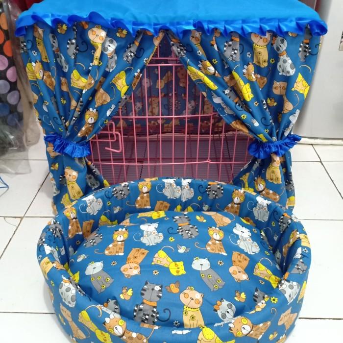 harga 1 set tirai untuk kandang+ kasur bantal kucing dan anjing Tokopedia.com