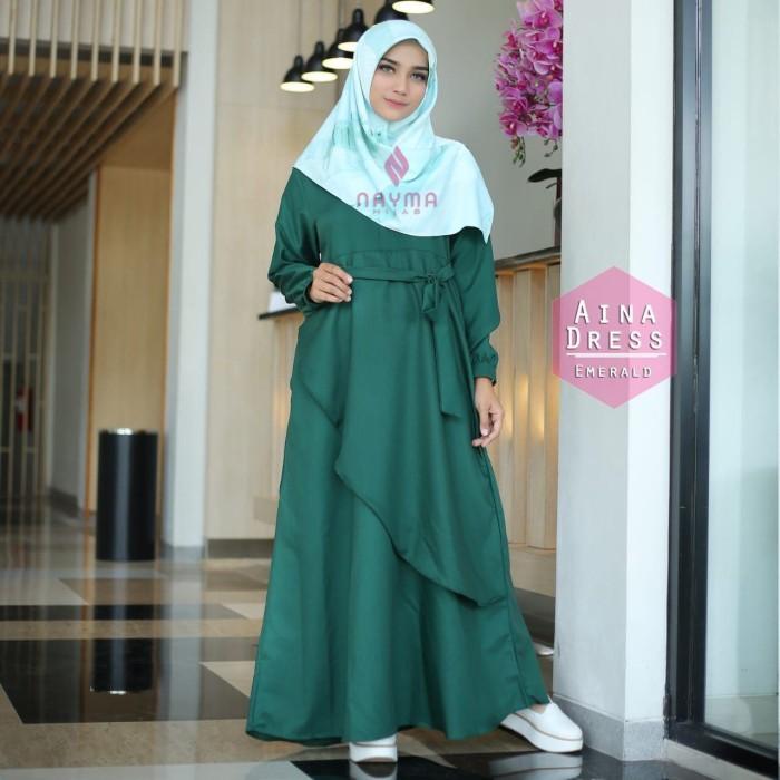 Gamis Nayma Hijab Aina Dress Emerald - baju muslim wanita baju muslima e170ab9c24