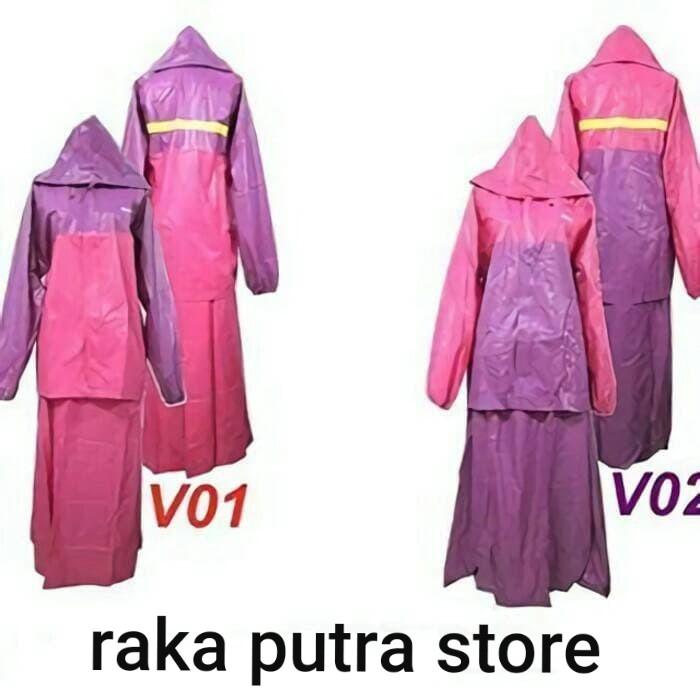 harga Jas hujan wanita setelan baju atasan plus rok wanita valencia Tokopedia.com