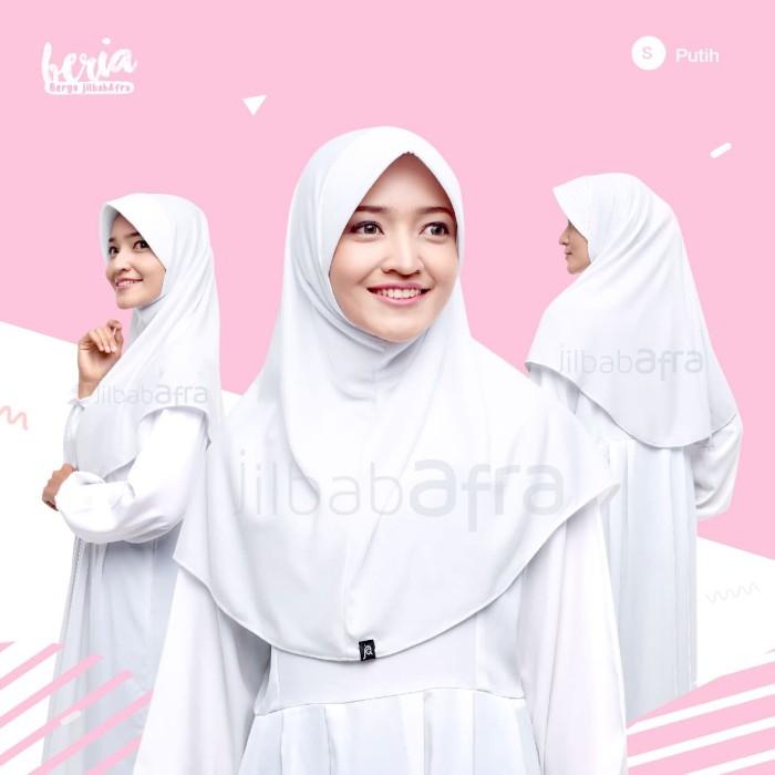 Jilbab Beria Size S - Bergo Jilbab Afra - Hijab Instan Bahan Kaos - Hijau muda