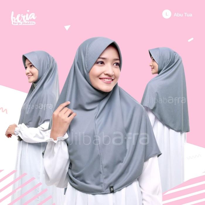 Jilbab Beria Size L - Bergo Jilbab Afra - Hijab Instan Bahan Kaos - Toska Muda