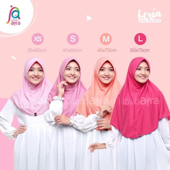 Jilbab Beria Size M - Bergo Jilbab Afra - Hijab Instan Bahan Kaos - Abu Sedang