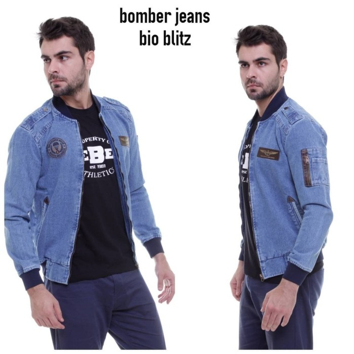 Foto Produk Jaket jeans baseball - Biru dari codeid