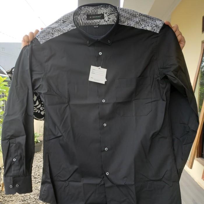 Kemeja alisan polos hitam kombinasi batik slimfit panjang slim fit