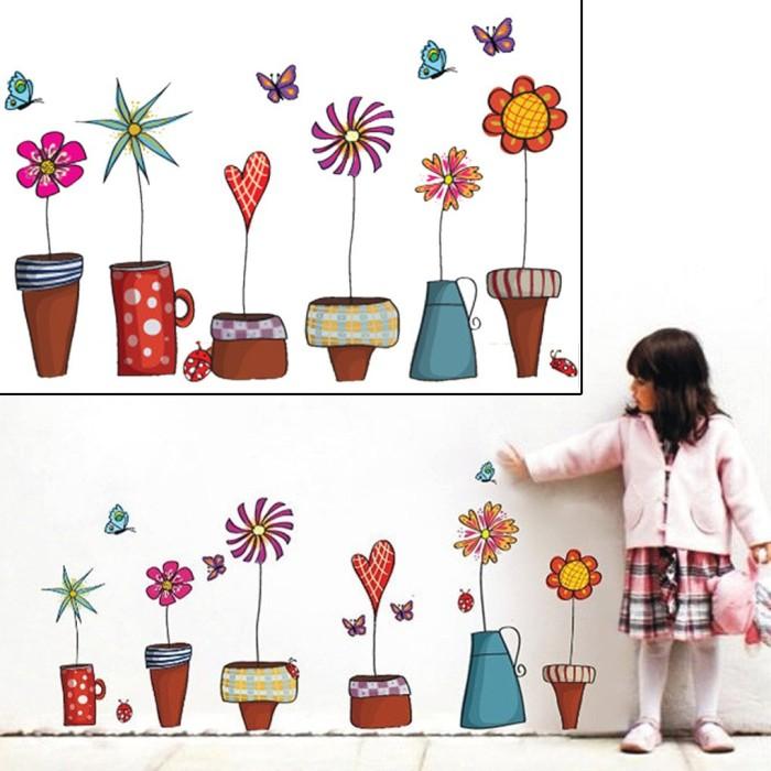 Jual Topfire Stiker Dinding Decal Desain Kartun Tanaman Bunga Mode