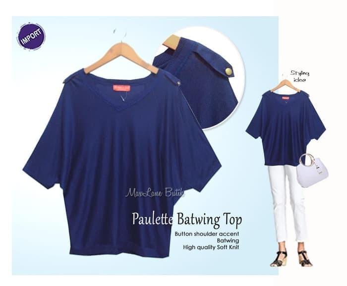 Promo! Paulette Batwing Top, Big Size, Kaos rajut halus, IMPORT