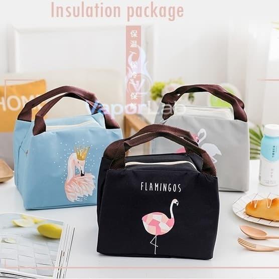Foto Produk 008 insulated lunch bag cooler bag tas bekal kotak makan flamingo lucu - A. ABU dari VAPOR LAB