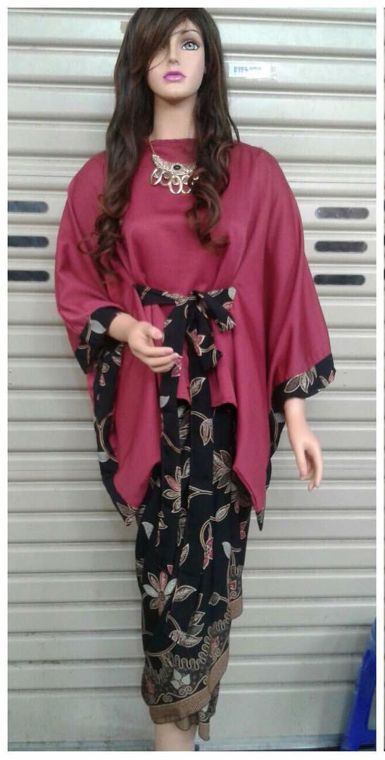 Jual Setelan Pakian Baju Batik Modern Kebaya Kombinasi Model Batwing