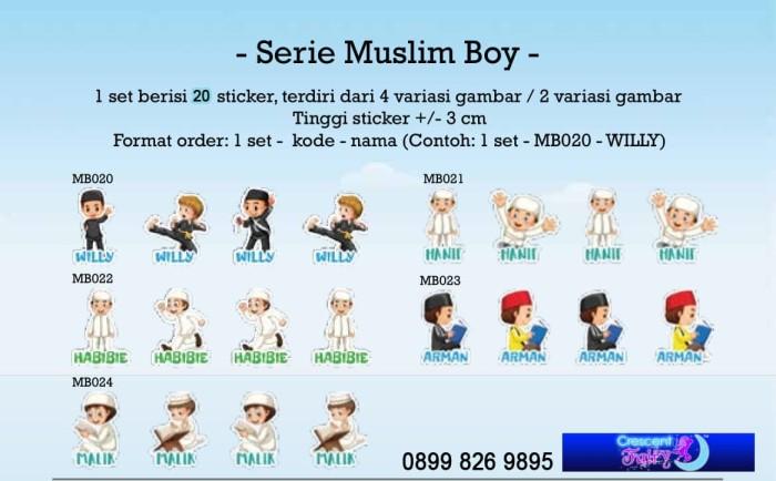 Jual Cutting Sticker Stiker Label Nama Seri Muslim Boy Peci