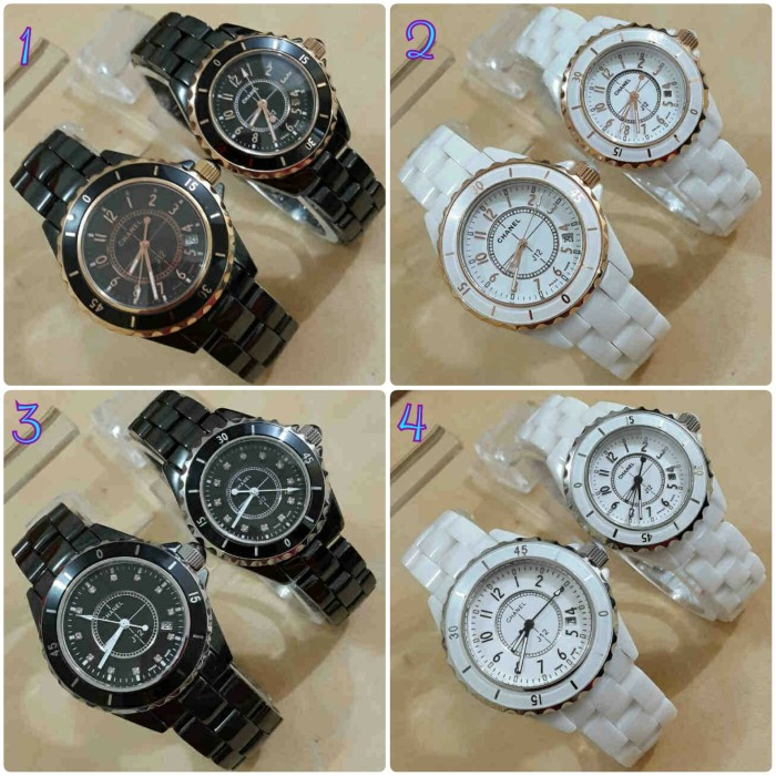 harga Jam tangan couple pria wanita cewek cowok chanel keramik gold Tokopedia.com