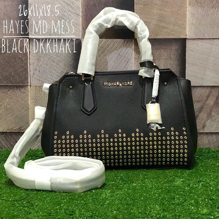 86cdd652db71 Jual Tas Michael Kors Original / MK Hayes Medium Black Dark Khaki ...