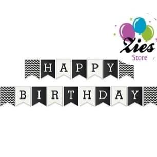 Foto Produk Banner happy birthday / bunting flag ulang tahun motif hitam zigzag dari Zies store