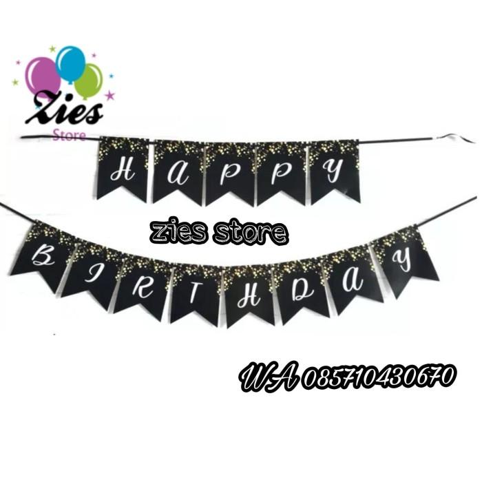 Foto Produk Banner happy birthday / bunting flang ulang tahun hitam sparkling dari Zies store
