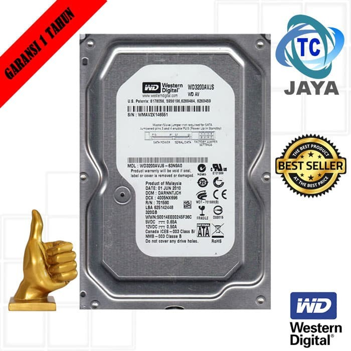 "Foto Produk HARDDISK Internal PC 3,5"" INCH 320 GB SATA WD WHITE dari tech comp jaya"