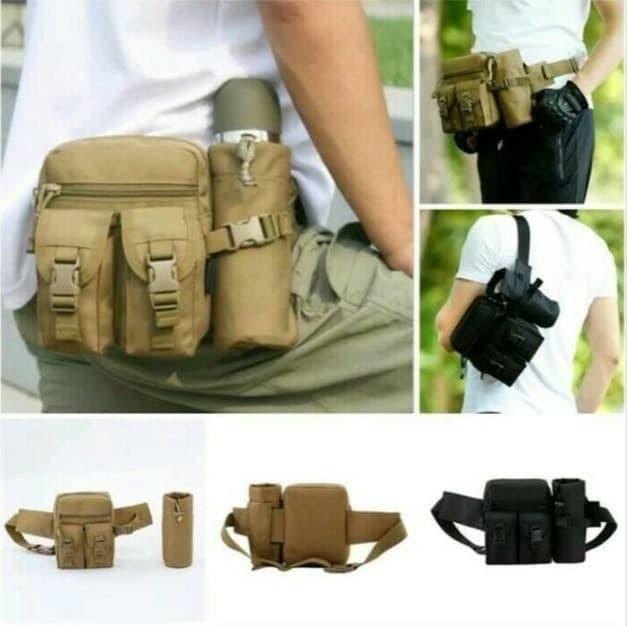 TAS IMPOR TAS PINGGANG ARMY BOTOL WAIST BAG TACTICAL ARMY WITH BOTTL