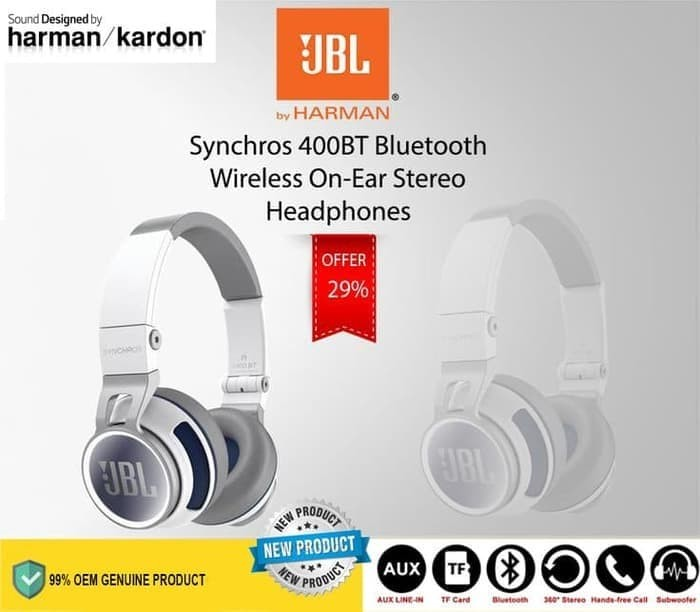 6c74cbe733e Jual JBL Synchros S400BT Wireless Stereo Touch Control Headphones ...