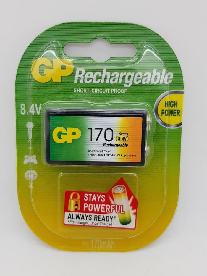Baterai isi ulang GP 170mAH 9v (rechargeable battery) / baterai kotak