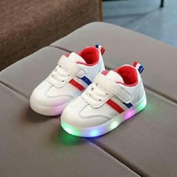 979fc004c49 Review Sepatu Anak Double Stripe Import Murah Lampu LED Di ...