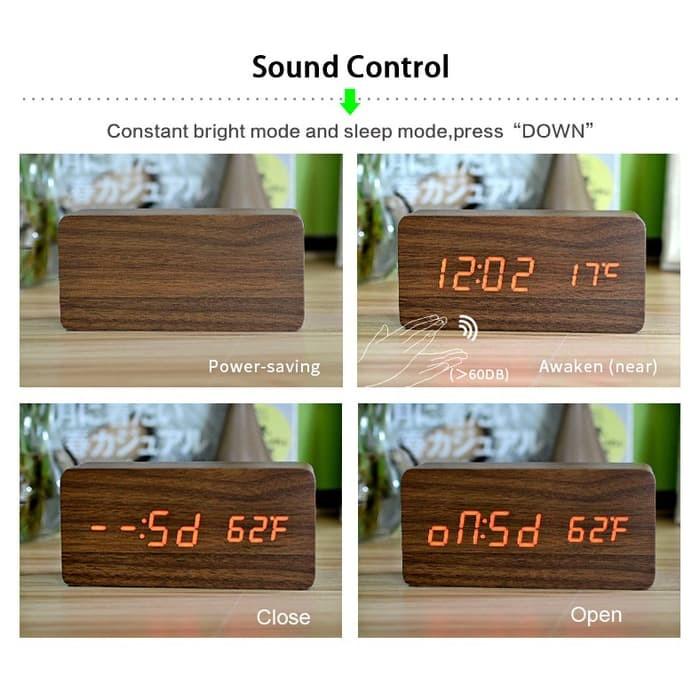 Jual Jam Meja Kayu LED Wood Clock with Alarm + Temperature - Titin ... c2c23c6841